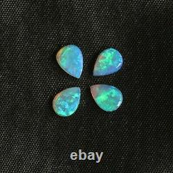 7 x 5mm 1.38ct set of 4 Australian white / light opal natural solid loose pear