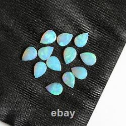 7x5MM 3.56CT SET OF 12 NATURAL SOLID WHITE LIGHT PEAR SHAPE CRYSTAL OPAL LOOSE