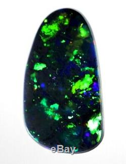 86cts Unique Free-Form Bright Blue/Green Solid Black Opal (2286)