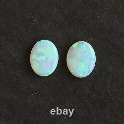 9 x 7mm 1.73ct set of 2 Australian white / light opal natural solid loose oval