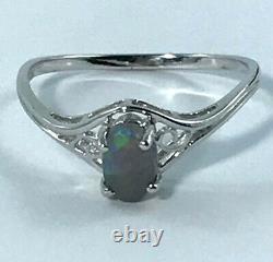 925 Sterling Silver Solid Black Opal RING Australian Opal claw set
