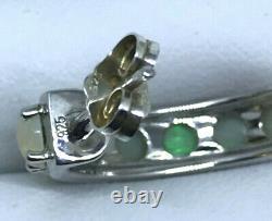 925 sterling silver Natural Solid Opal Hoop EARRINGS Australian opal claw set