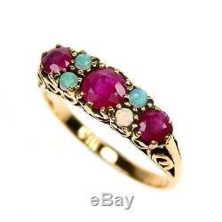 9ct Solid Gold Vintage Insp Sapphire & Opal Ring R75 Custom