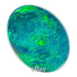 AMAZING AQUA GREEN BLUE TURQUOISE 2.65ct 11x8mm SOLID BLACK OPAL LIGHTNING RIDGE