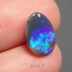 AUSTRALIAN LIGHTNING RIDGE Semi Black Opal SOLID Cabochon 2.04ct SEE VIDEO