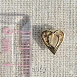 Adorable Heart Shaped Australian Solid Opal Stud Earrings 14K Yellow Gold