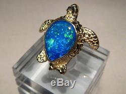 Amazing 3.0 ct Lightning Ridge Opal Sea Turtle Pendant Solid 14 k yellow Gold