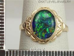 Antique 1920's Art Deco GREEN BLUE Oval Opal 10k Solid Gold Ladies Cocktail Ring
