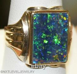 Antique 1920's Art Deco LARGE GREEN BLUE Natural Opal 10k Solid Gold Men's Ring