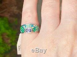 Art Deco Vintage Brazilian Green Opal Iolite Ladies ring Solid 5 L UK Sterling