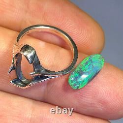 Australian Black Opal Ring Sterling Silver LR 1.62ct Solid Gemstone Green X064