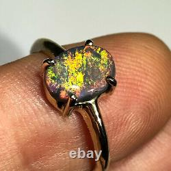 Australian Black Opal Ring VIDEO 14k Gold 1.26ct Solid Oval Multi Color Red X068