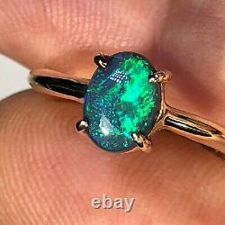 Australian Black Opal Ring VIDEO 14k Gold Green Blue Solid. 97ct LR Gemstone X46