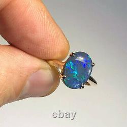 Australian Black Opal Ring VIDEO 14k Gold LR Solid 2.5ct Green Blue Gemstone Y16