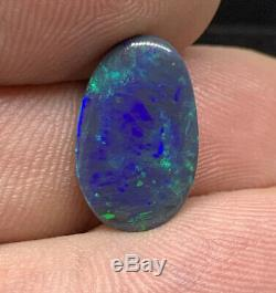 Australian Black Opal! Solid/Natural! Dazzling Flash! Electric Green/Blue! 4.0ct