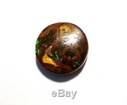 Australian Boulder Opal Solid Loose Cut Stone 16mm round Green (2355)