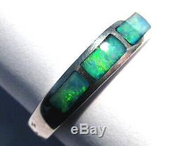 Australian Coober Pedy Opal Inlay and Solid Sterling Silver Ring