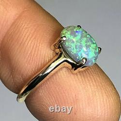 Australian Crystal Opal Ring VIDEO 14k Gold High Dome LR Solid 1.68ct Gem W097