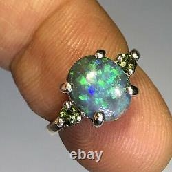 Australian Dark Opal Ring. 21ct Tourmaline Sides Solid LR 1.76ct Green Blue X45