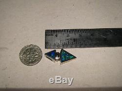 Australian Gem Opal Pendant solid 14 kt white gold Blue and Green