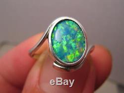 Australian Gem Opal Ring 4.2 grams solid 14 k white Gold Free Re Size