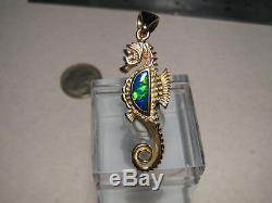 Australian Gem Opal Seahorse Pendant solid 14 k yellow gold