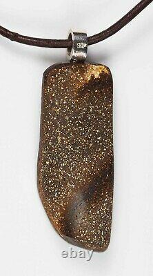 Australian Green Blue Queensland Boulder Solid Opal Silver Pendant 31ct Hallmark