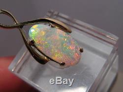 Australian Opal Pendant Solid 14 k Yellow Gold Beautiful Pastel Color