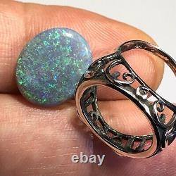 Australian Opal Ring Sterling Silver. 925 Cabochon Gem 5.24 cts Solid LR Z030