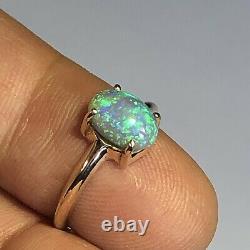 Australian Opal Ring VIDEO 14k Gold Crystal High Dome Solid LR Gem 1.68ct W097