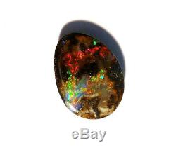 Australian Queensland Boulder Opal Solid lots of reds and greens 4ct