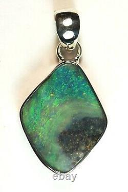 Australian Queensland Boulder Solid Opal Silver 925 Pendant Green Blue Hallmark