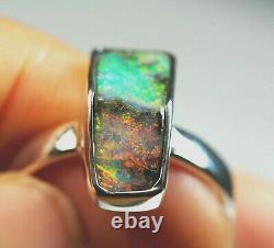 Australian Queensland Boulder Solid Opal Silver Green Red Ring UK(AU) P US 7 3/4