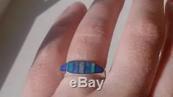 Australian Solid Black Fire Opal Sterling silver Ladies Ring 6.5 ring Blue black