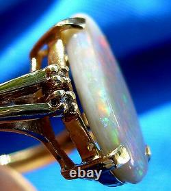 Australian Solid Opal Deco Engagement Ring green blue red yellow orange black