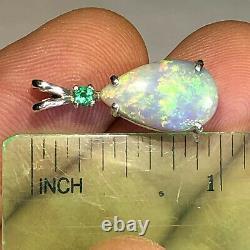 Australian Solid Opal Pendant Sterling Silver Emerald Pear 3.38cts Light Gem X29