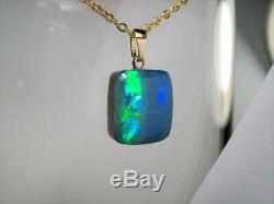 Authentic Australian Opal Pendant 14k Solid Gold 7.8ct Gem Doublet Gift #C78