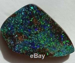BRIGHT 10.8ct Solid Boulder Opal BLUE GREEN Freeform Queensland