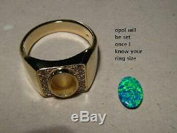 BRILLIANT Large Mens Diamond & Opal Ring 20 grams of Solid 14k Yellow Gold