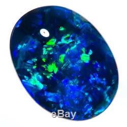 BRILLIANT SAPPHIRE BLUE GREEN 2.74ct 12x9mm SOLID BLACK OPAL LIGHTNING RIDGE