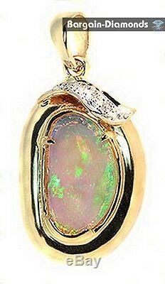 Best solid Opal + Diamonds 1.32 14K gold pendant red green blue Australian