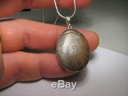 Big Solid Silver Australian Natural White Opal Pendant Gift Necklace 22.6ct A75