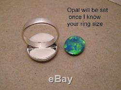 Black Harlequin Lightning Ridge Opal Ring Solid 14k White or Yellow Gold