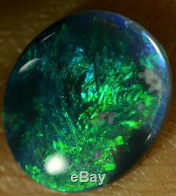 Black Opal Australian Natural Solid 2.35 ct electric aqua blue/green colours gem