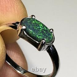 Black Opal Ring Australian Sterling Silver. 925 Solid Oval. 68ct East West a42
