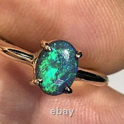 Black Opal Ring VIDEO 14k Gold Australian Solid Green Blue. 97ct LR Gemstone X46