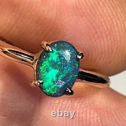 Black Opal Ring VIDEO 14k Gold Green Blue. 97ct Solid LR Oval Gemstone X46