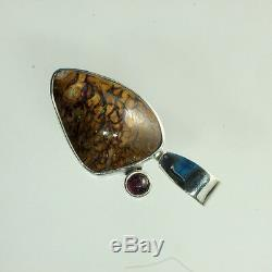 Blue, Green & Red Solid Boulder Opal Pendant in 100% Sterling Silver
