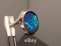 Blue Green Solid Australian Opal inlay Ring sterling silver SIZE 6