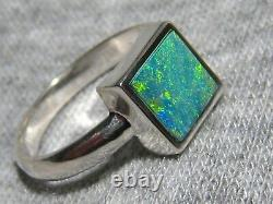 Blue Green Solitaire Australian Opal Ring Sterling Silver free resize